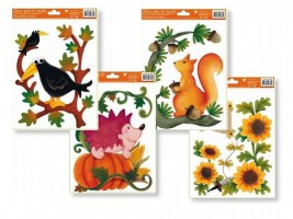 Okenní fólie - podzim s dráčkem 30 x 20 cm - různé motivy 852