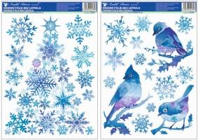 Okenní fólie ptáčci s vločkami a stromek z vloček modrý s glitry 37x29 cm 214