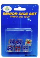 Hrací kostky - 6 ks - průhledné, barevné - PK37-11