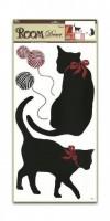 Pokojová dekorace černé kočky 60 x 32 cm - 937