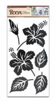 Pokojová dekorace černý ibišek + listy 60 x 32 cm - 636