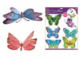 Pokojová dekorace modrozelení motýli s pohyblivými křídly 3D - 30,5 x 30,5 cm - 678