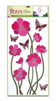 Pokojová dekorace růžové vlčí máky a motýli 69 x 30 cm - 1047