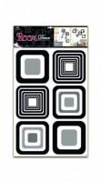 Pokojová dekorace černé čtverce 70 x 42 cm - 1062