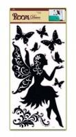 Pokojová dekorace černá se sedící vílou 69 x 30 cm - 1082