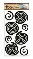 Pokojová dekorace černé spirály 69 x 32 cm