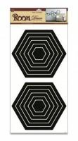Pokojová dekorace černá 2 sady šestiúhelníků 69 x 32 cm