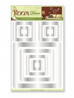 Pokojová dekorace 3D-EVA čtverce, stříbrný gliltr 41 x 29 x 0,4 cm