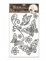 Pokojová dekorace plastická motýli s černou konturou a kamínky 41 x 29 cm