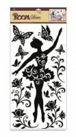 Pokojová dekorace černá baletka s motýli 69 x 32 cm