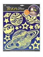 Pokojová dekorace svítící ve tmě planety 30,5 x 30,5 cm - 603