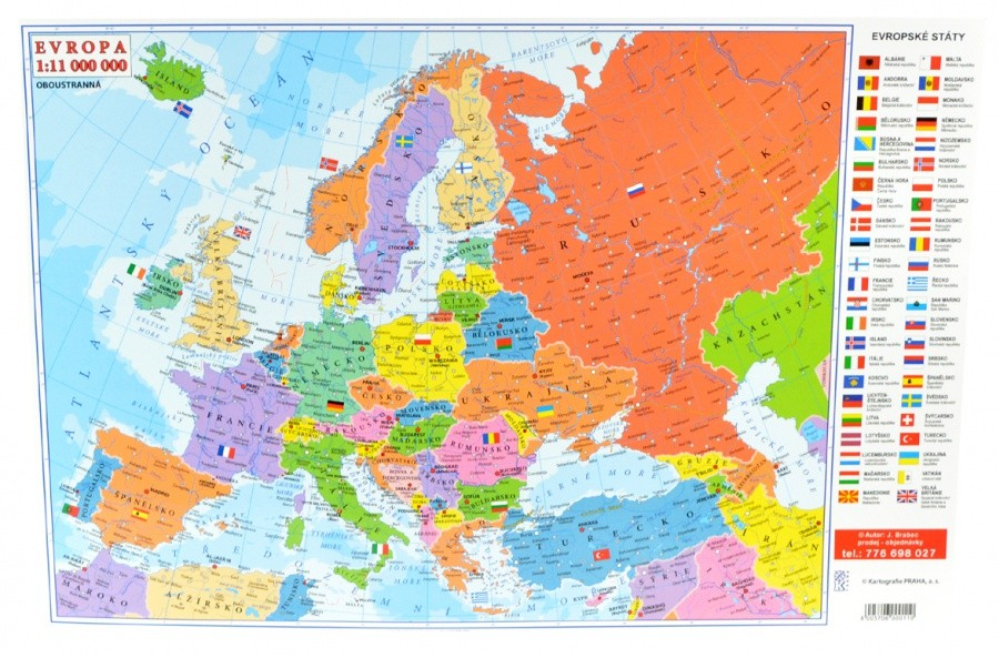 Mapa Oboustranna Evropa Svet A2 Vase Online Papirnictvi